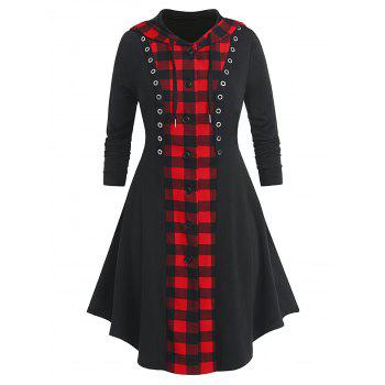 Plus Size Hooded Plaid Button Up Skirted Long Coat