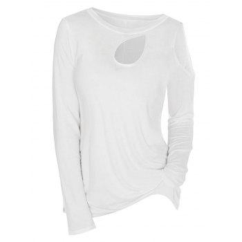 Cold Shoulder Keyhole Long Sleeve T-shirt