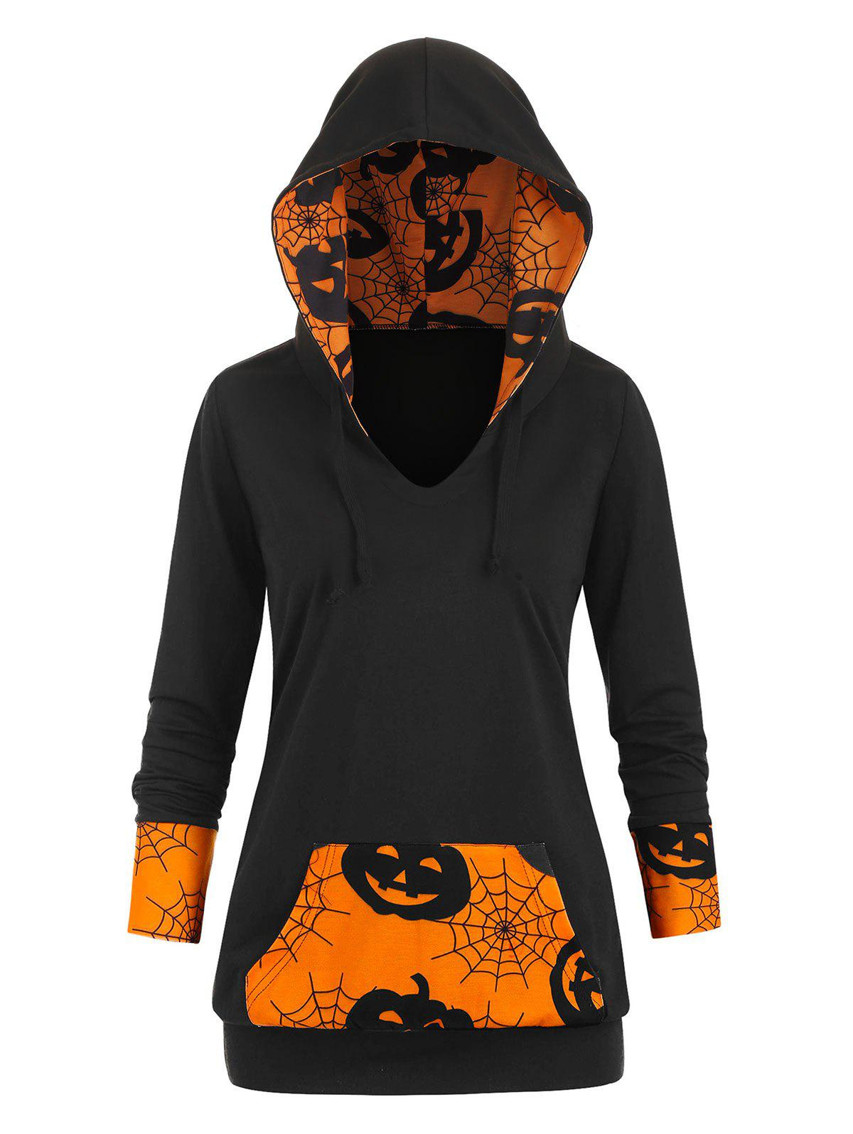 Cobwebs Pumpkin Front Pocket Halloween Plus Size Hoodie -