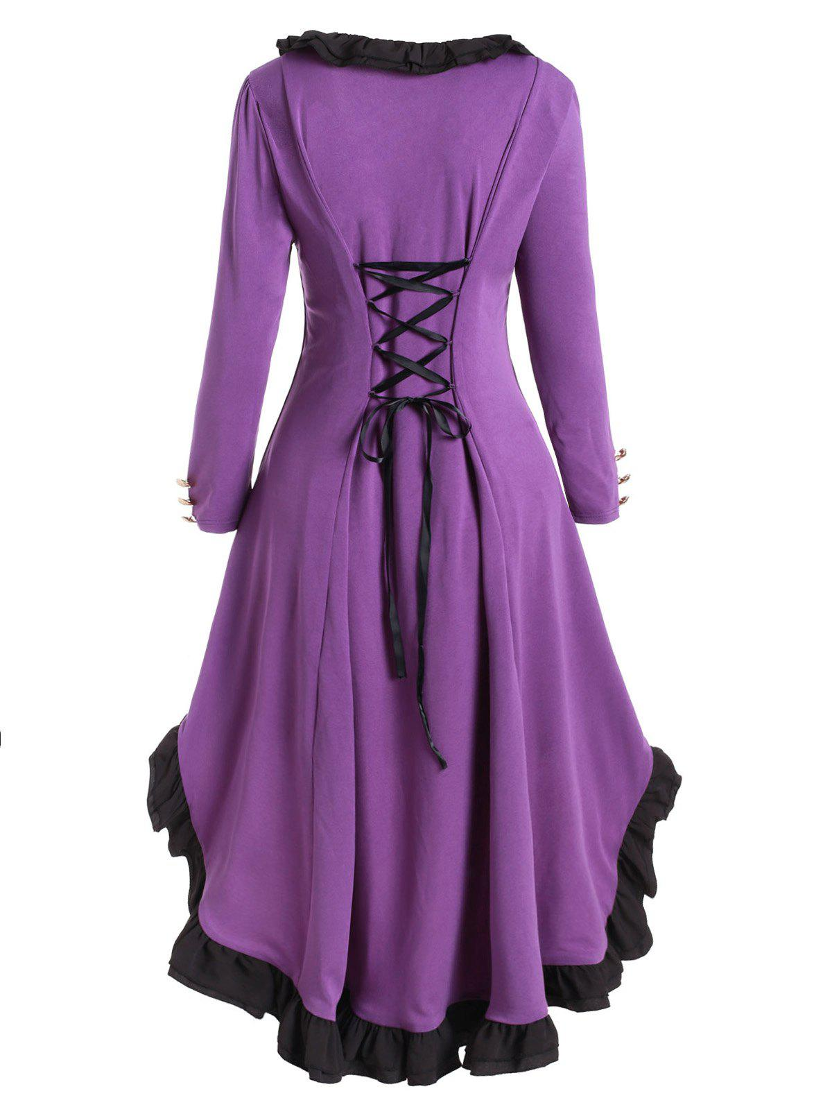 Plus Size Vintage Ruffled Lace Up Long Coat - PURPLE FLOWER 2X