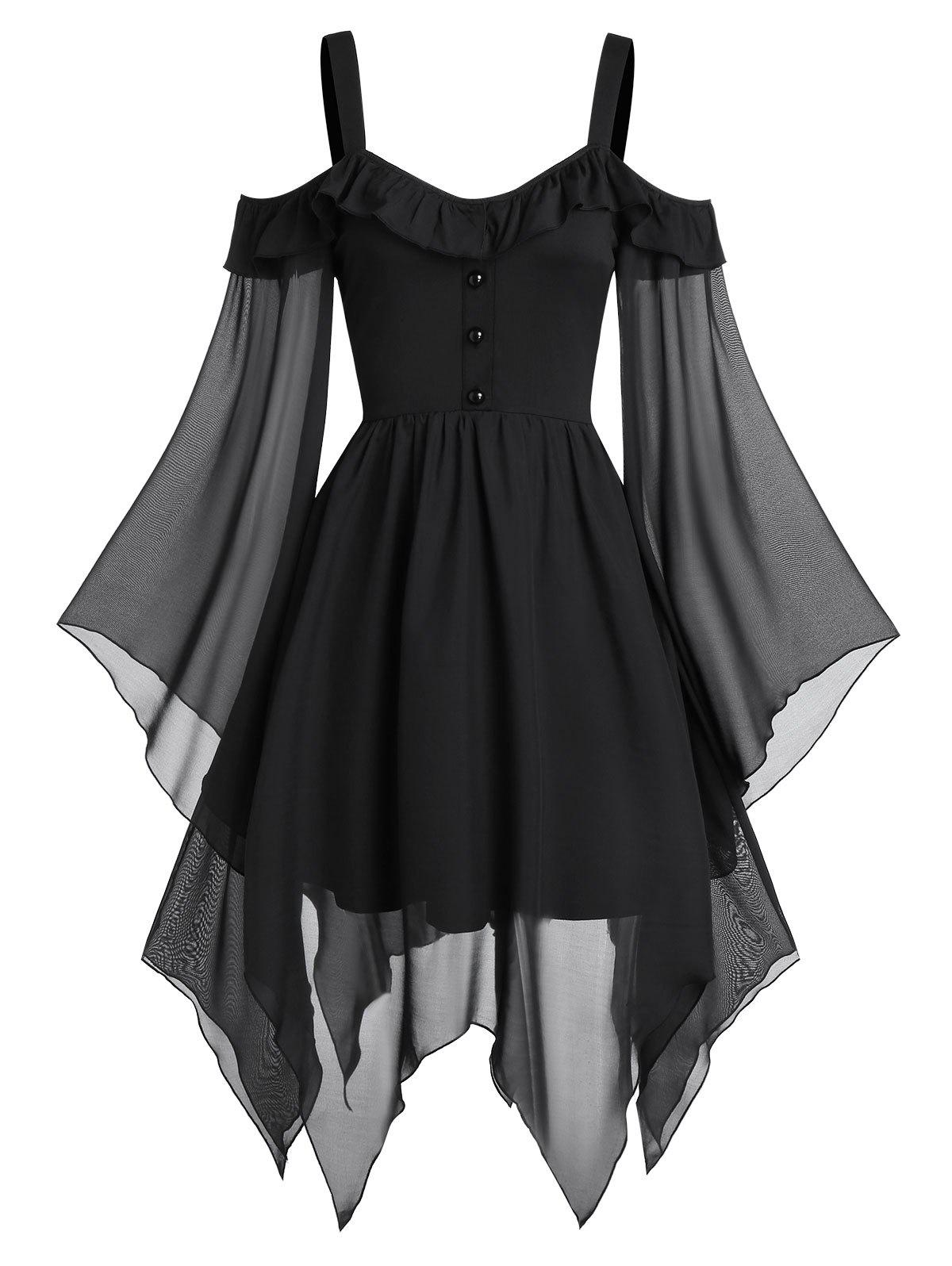Butterfly Sleeve Cold Shoulder Lace-up Handkerchief Gothic Chiffon Dress - BLACK M