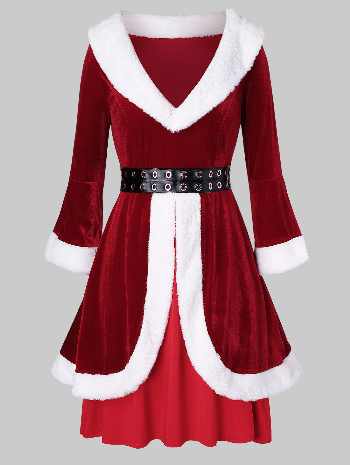 Plus Size Faux Fur Grommets Velvet Christmas Dress - RED 5X
