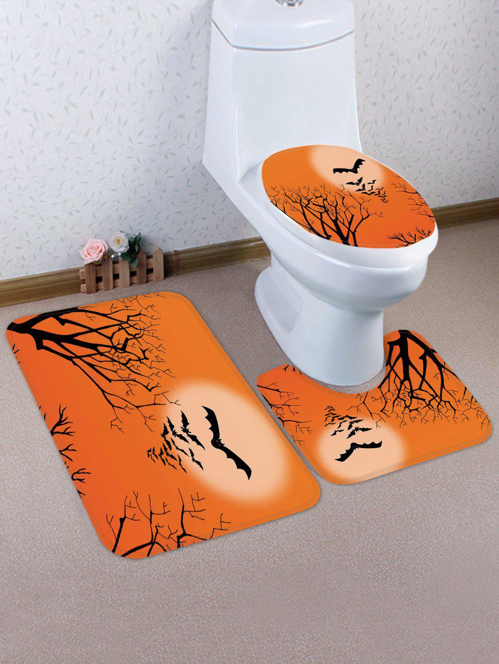 Halloween Bat 3 Pcs Bathroom Toilet Mat - multicolor