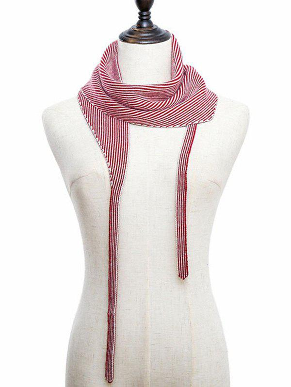 Foulard Triangle Tricoté Rayé à Double Face - Rouge