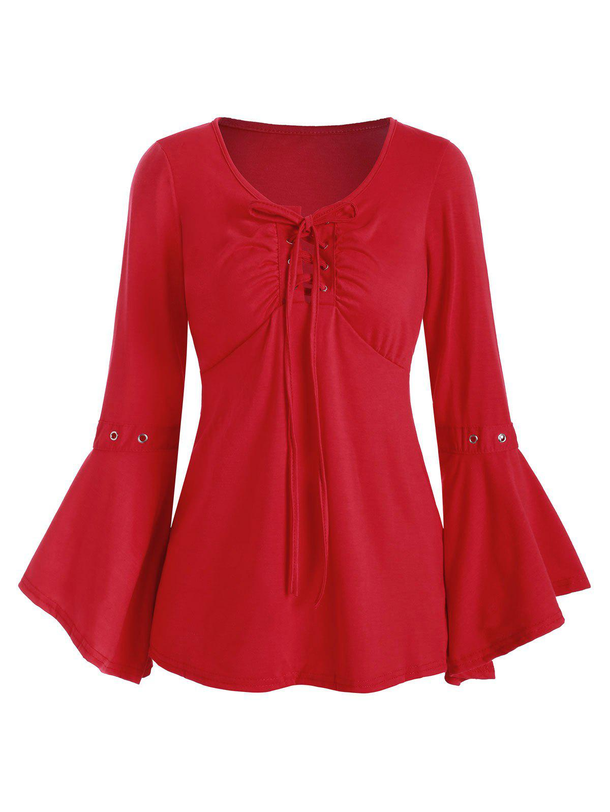 Grommet Long Sleeve Lace-up Top - RED XL