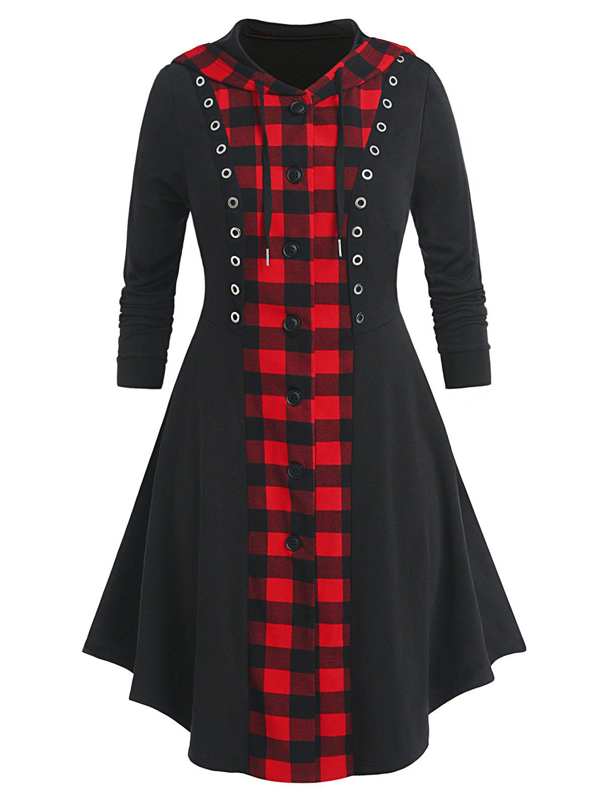 Plus Size Hooded Plaid Button Up Skirted Long Coat - BLACK 4X