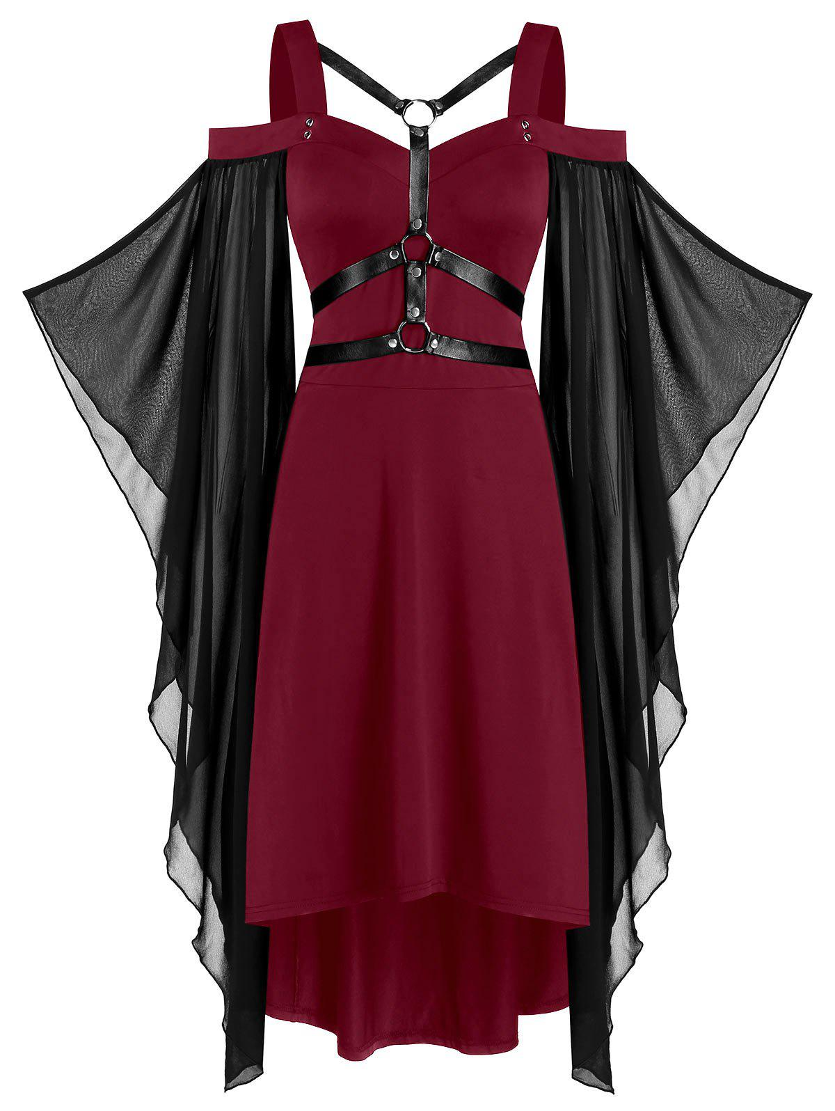 Chiffon Batwing Sleeve Lace-up Harness Insert High Low Dress - RED WINE 2XL
