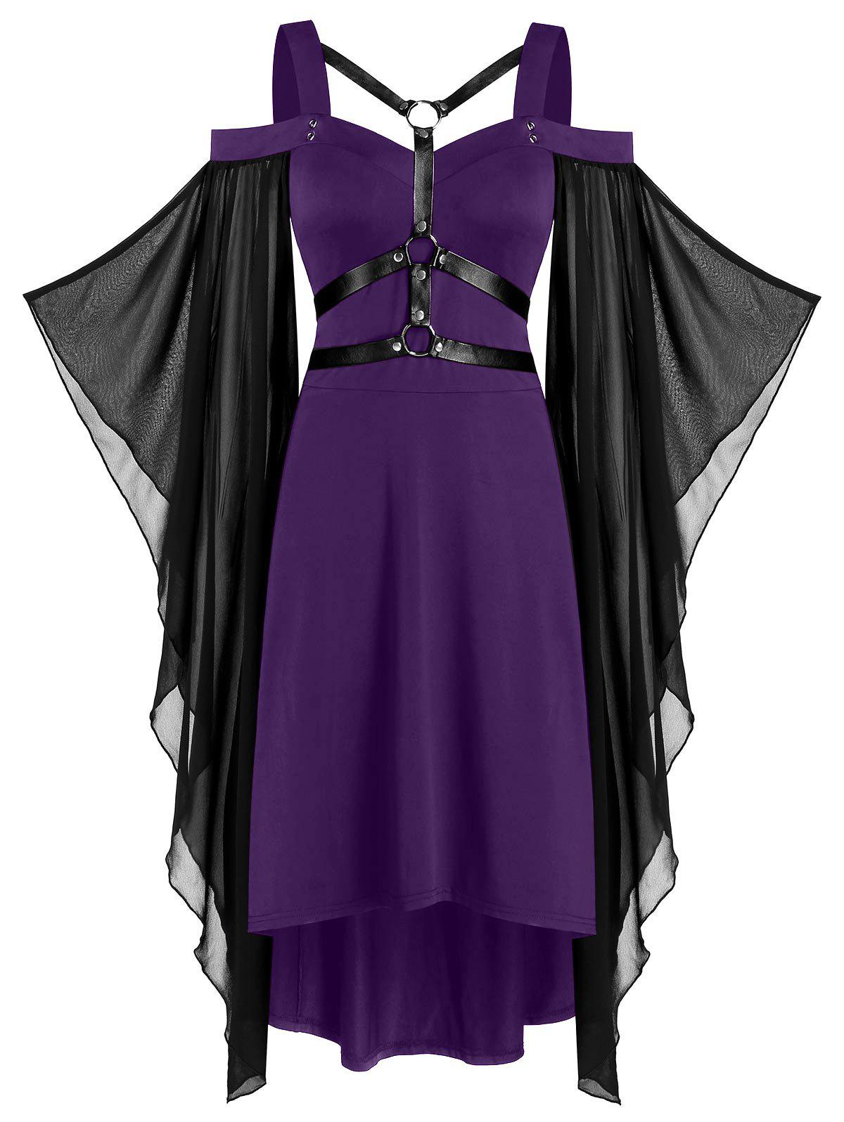 Chiffon Batwing Sleeve Lace-up Harness Insert High Low Dress - PURPLE IRIS S