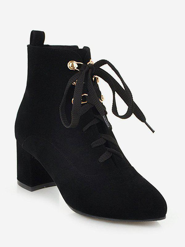 Pointed Toe Suede Ankle Boots - BLACK EU 41