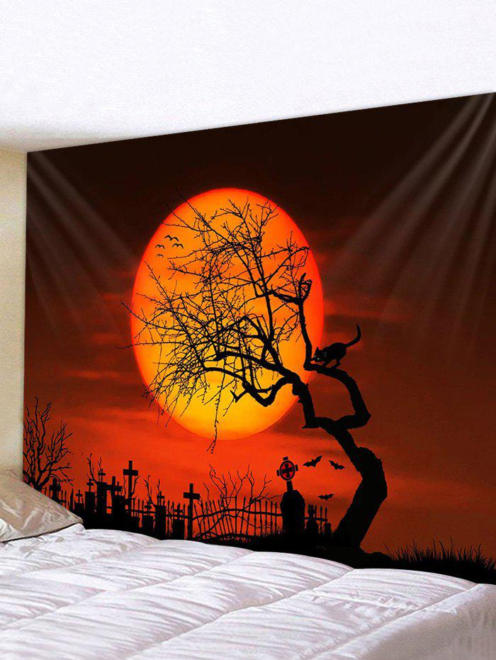 Halloween Bat Cat Printed Pattern Tapestry - multicolor W79 X L71 INCH