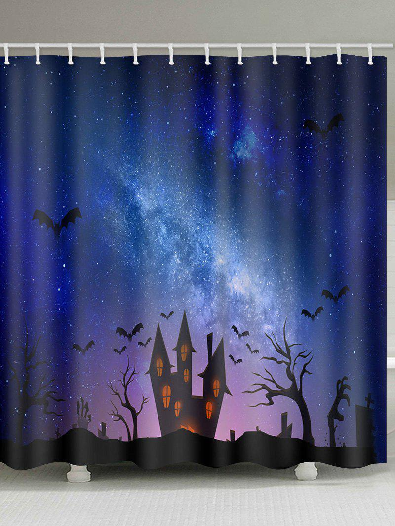 Halloween Bat Castle Pattern Shower Curtain - multicolor W71 X L71 INCH