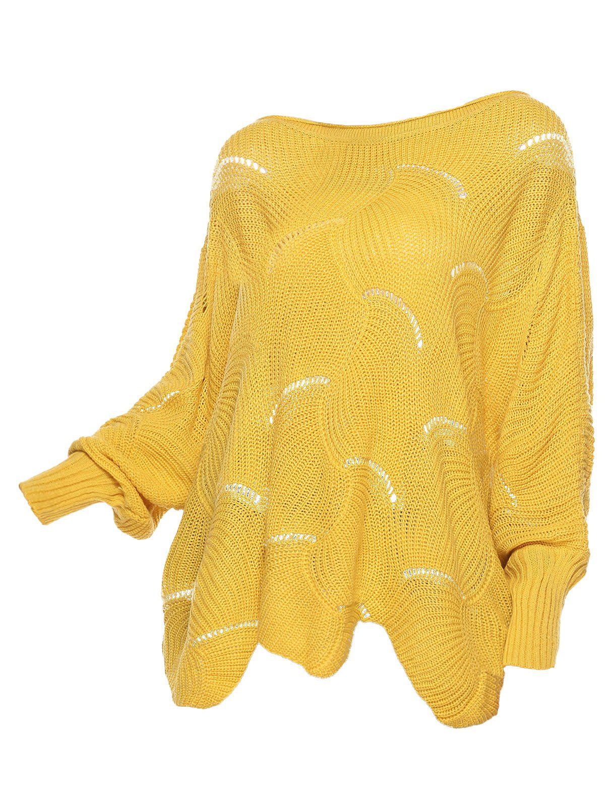 Pointelle Knit Scalloped Hem Pullover Plus Size Sweater - YELLOW M