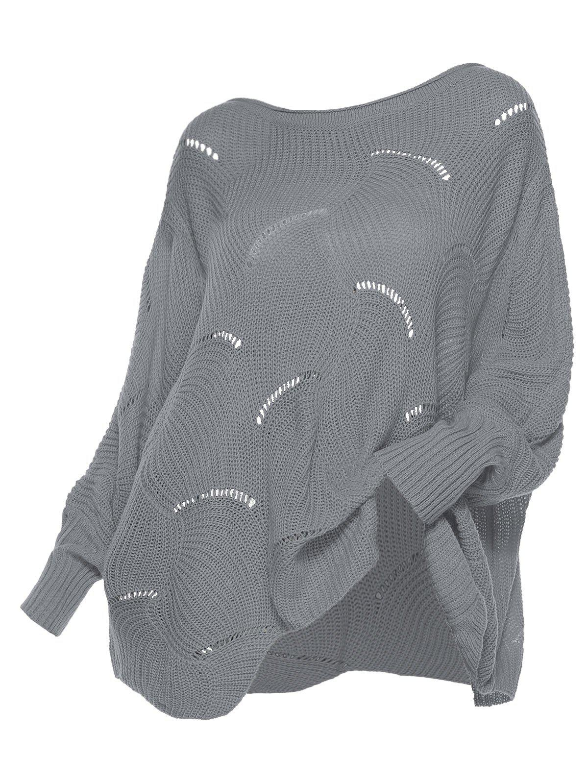 Pointelle Knit Scalloped Hem Pullover Plus Size Sweater - GRAY M