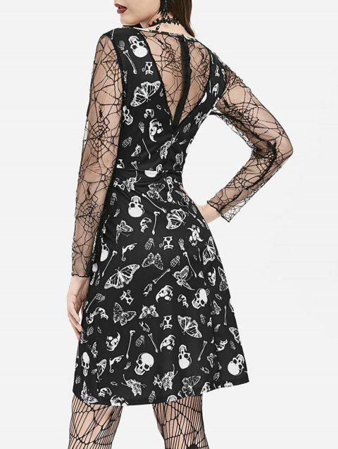 Cobweb Lace Skull Moth Halloween High Low Dress - BLACK 3XL