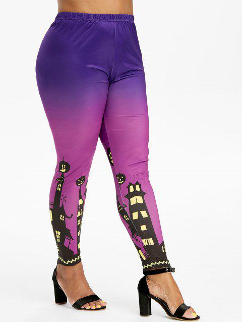 Pumpkin Castle Halloween High Waisted Plus Size Leggings - PURPLE 5X