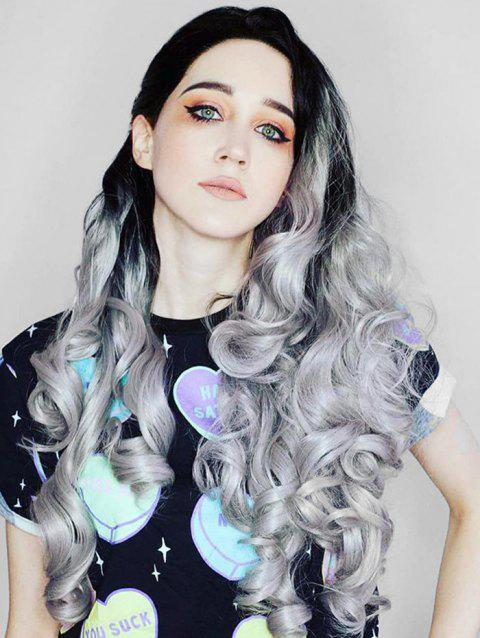 Center Part Halloween Ombre Curly Long Synthetic Wig - LIGHT GRAY 24INCH