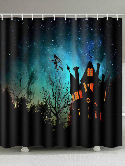 Halloween Castle Witch Pattern Shower Curtain - multicolor W65 X L71 INCH