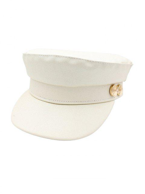 Solid Color Casual Military Hat - WHITE