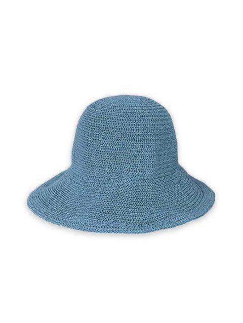 Summer Solid Knitted Bucket Sun Hat - PEACOCK BLUE