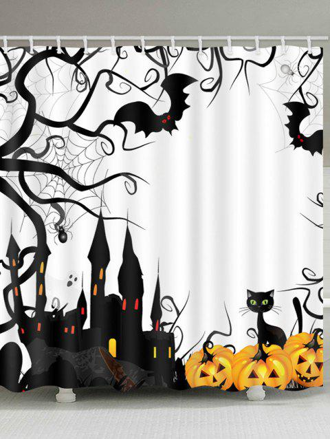 Halloween Castle Pumpkin Print Waterproof Bathroom Shower Curtain - multicolor W71 X L79 INCH