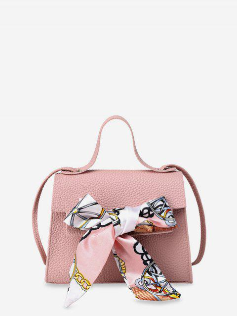 Ribbon Bowknot Decorate Crossbody Leather Shoulder Bag - PIG PINK