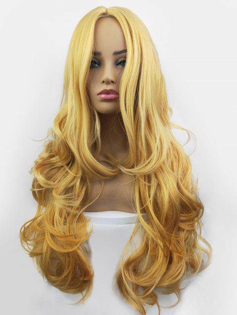 Center Part Long Synthetic Body Wave Wig - GOLD