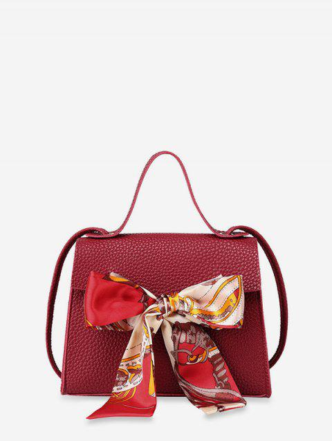 Ribbon Bowknot Decorate Crossbody Leather Shoulder Bag - RED WINE