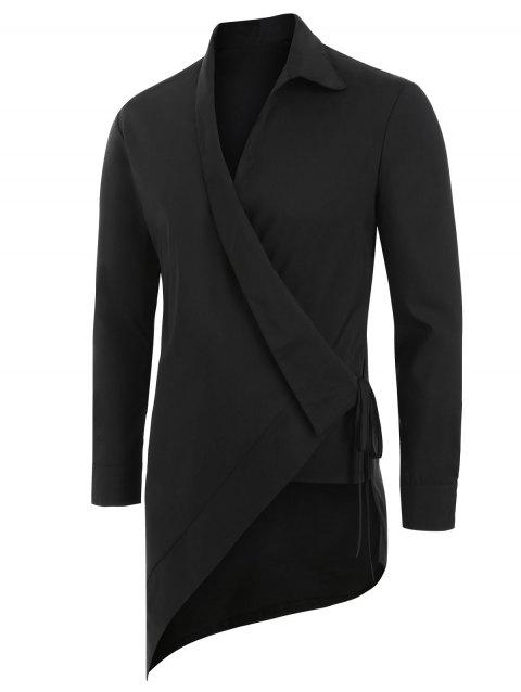 Solid Color Asymmetrical Long-sleeved Shirt - BLACK S