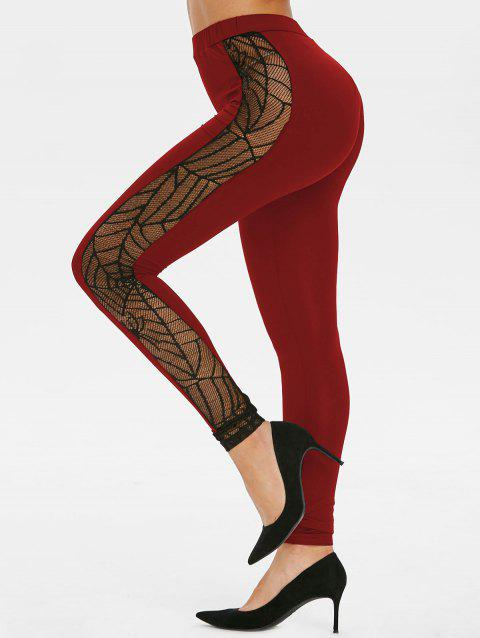 Spider Web Lace Panel Halloween Leggings - RED WINE 2XL