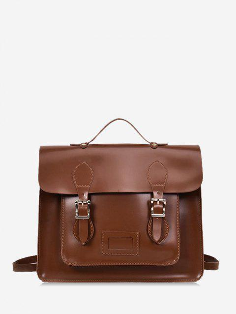 European Retro Square Satchel - BROWN