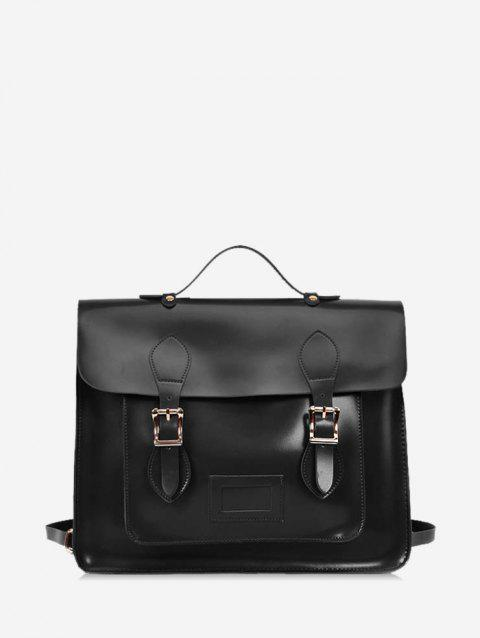 European Vintage Square Satchel - BLACK