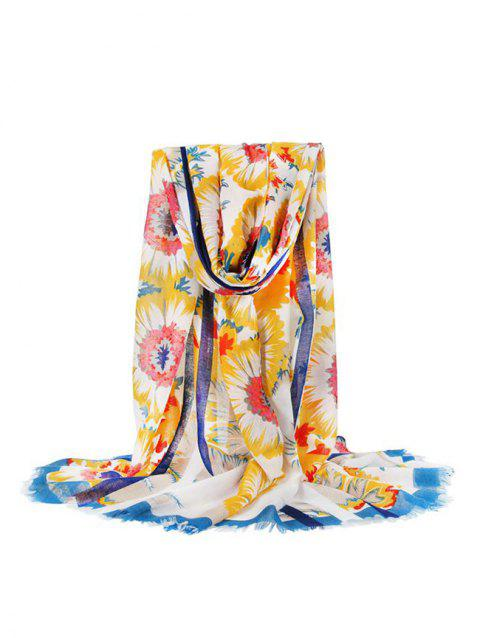 Striped Floral Printed Long Fringe Scarf - YELLOW
