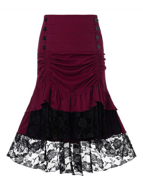 Plus Size Lace Insert Ruched Mermaid Skirt - RED WINE 1X