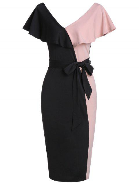 Flounce Two Tone Belted Knee Length Bodycon Dress - BLACK 3XL