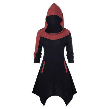 Plus Size Hooded Asymmetrical Contrast Sweater