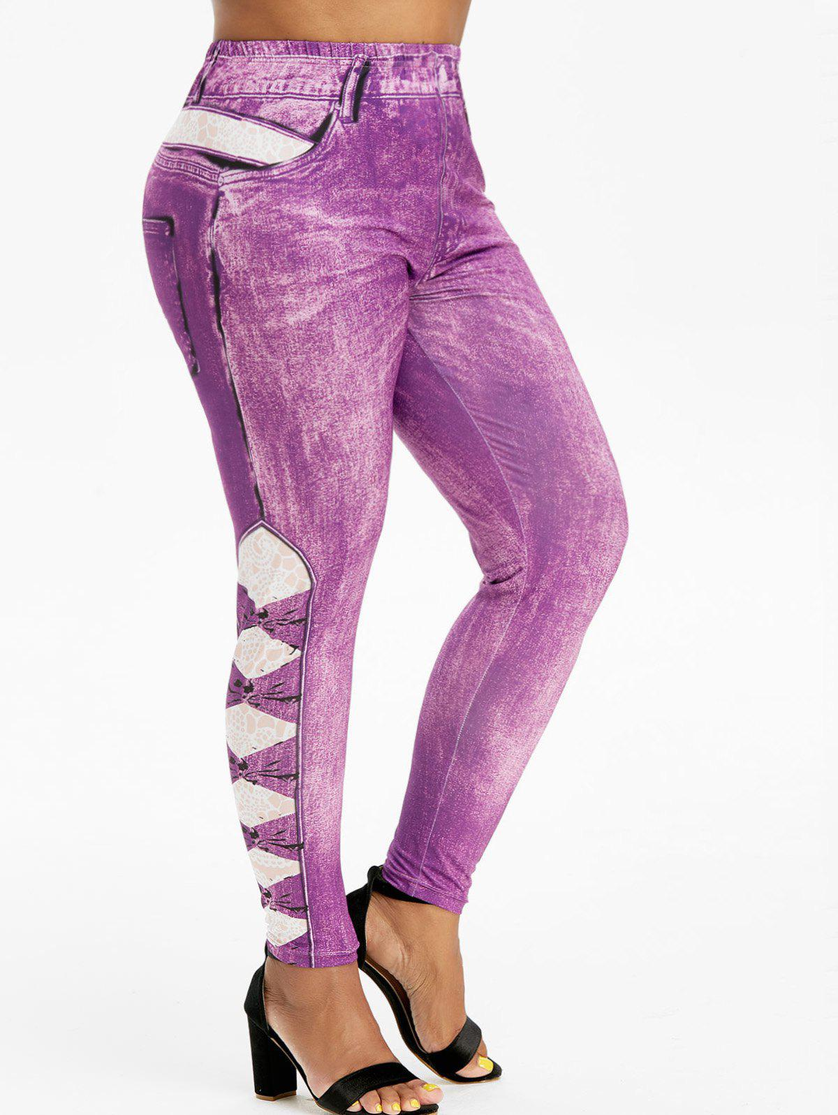 3D Printed High Waisted Pull On Plus Size Jeggings - PURPLE 5X