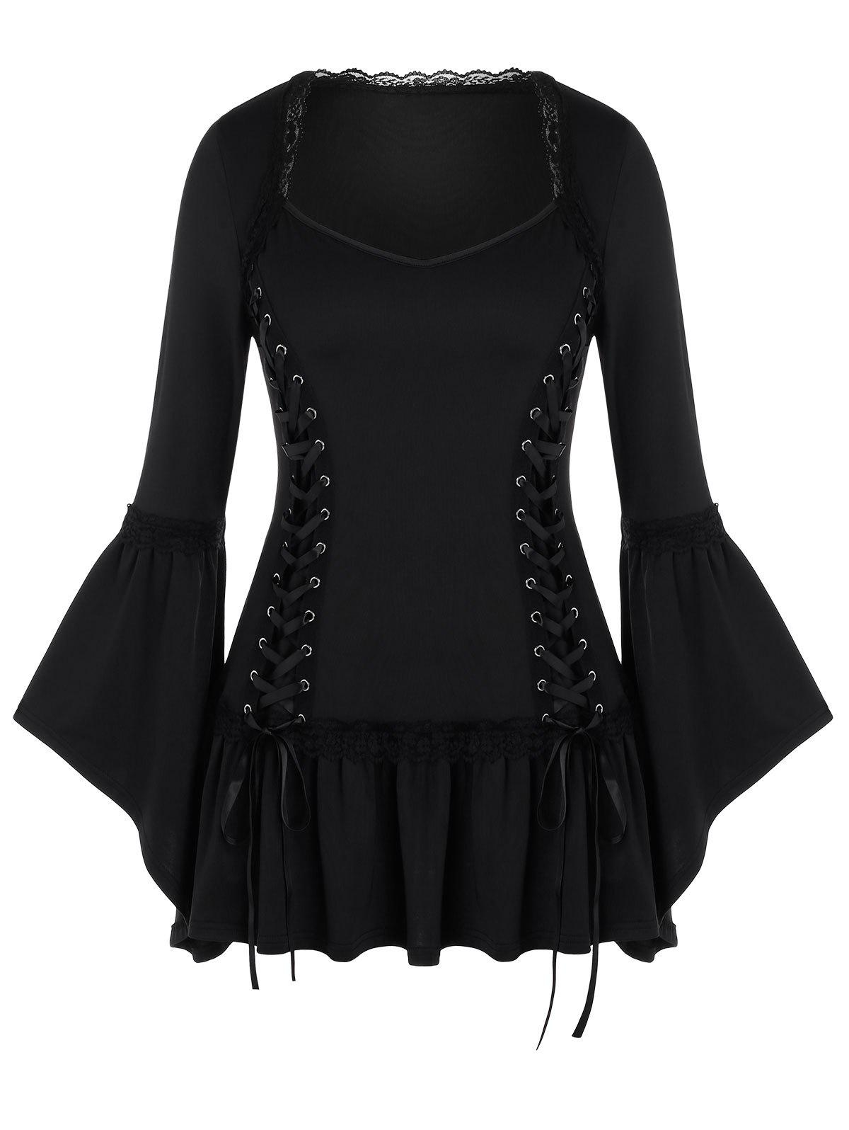 Plus Size Solid Long Sleeve Lace Up T Shirt - BLACK 4X