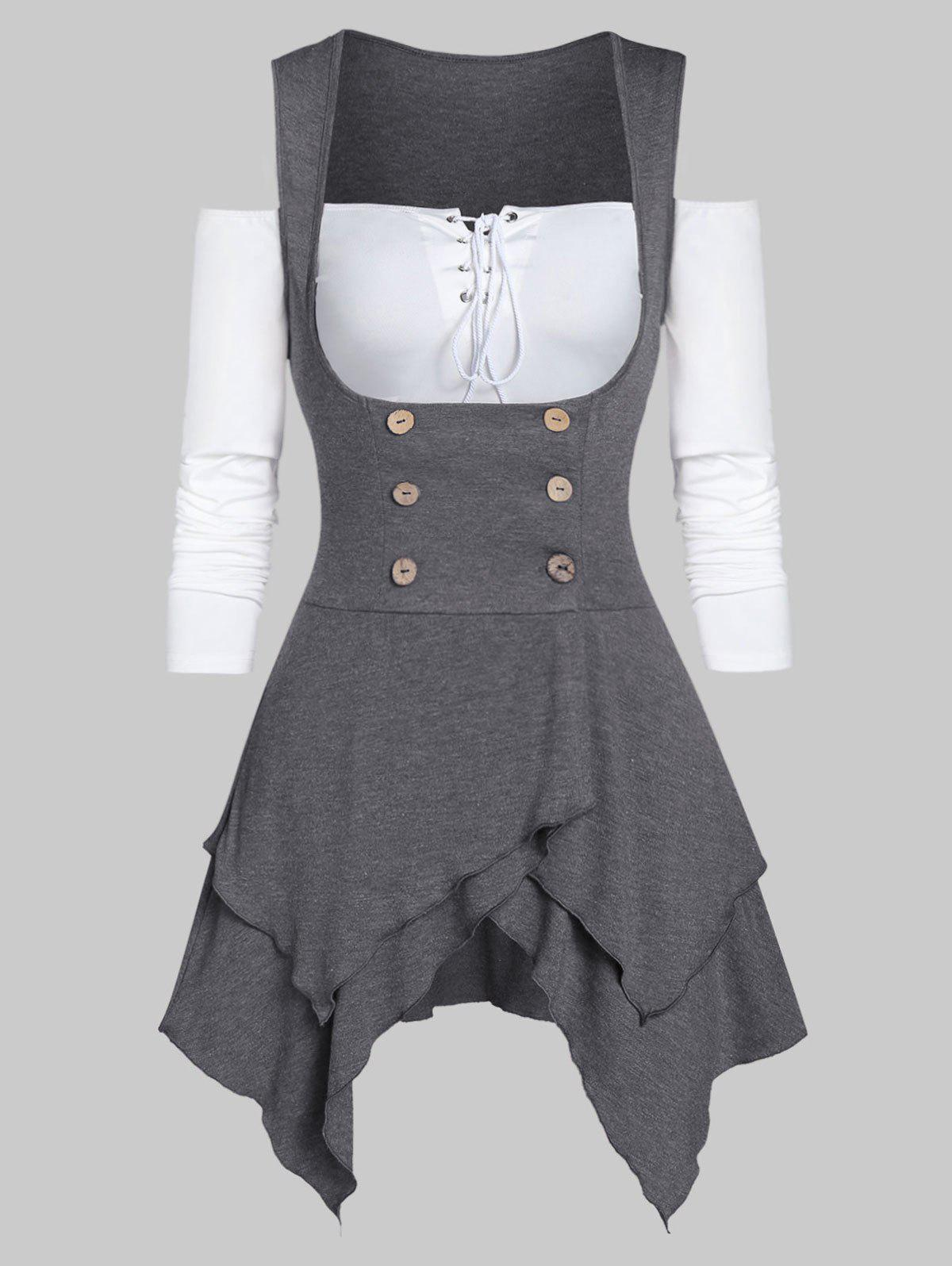 Solid Lace Up T Shirt with Asymmetrical Button Vest - CLOUDY GRAY XL