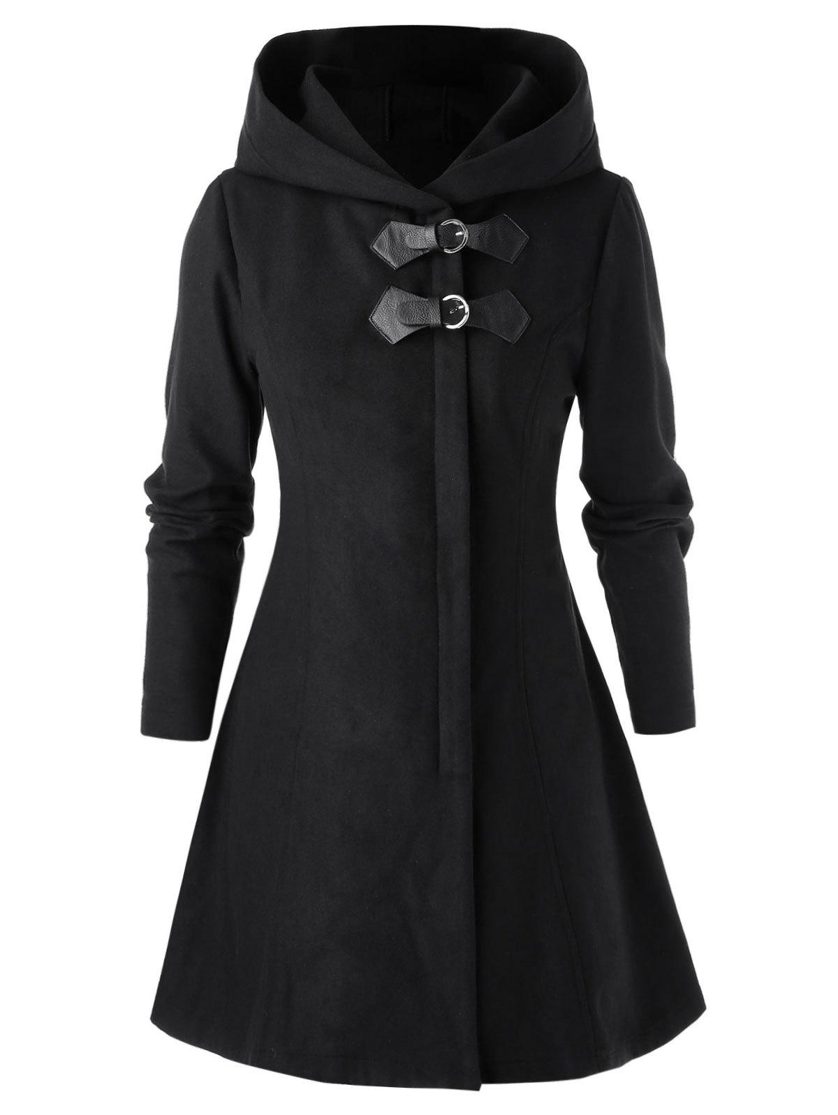 Plus Size Hooded Long Sleeve Solid Coat - BLACK L
