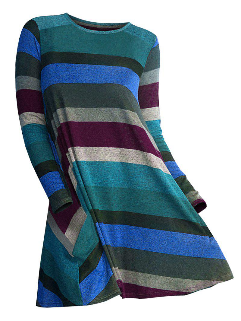 Striped Longline Long Sleeve Knitwear - DARK ORCHID S