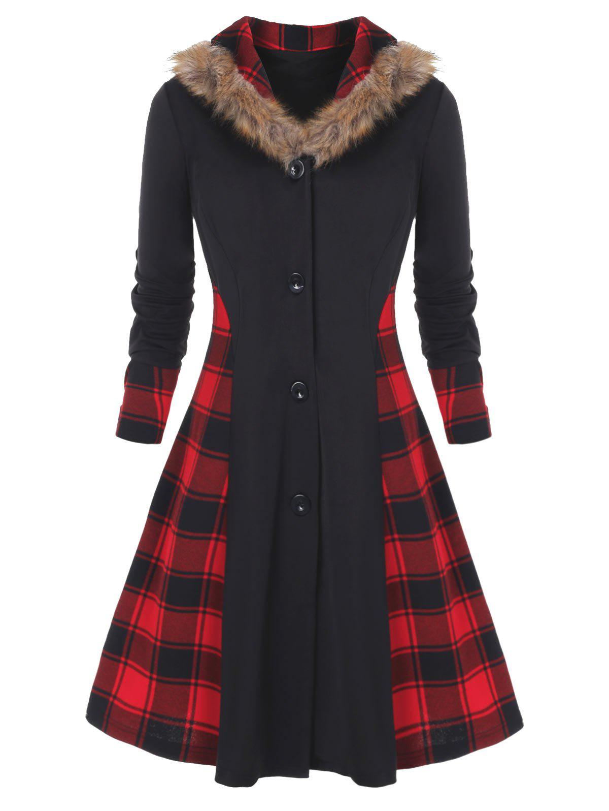 Plus Size Buttons Up Plaid Faux Fur  Skirted Coat - BLACK 1X