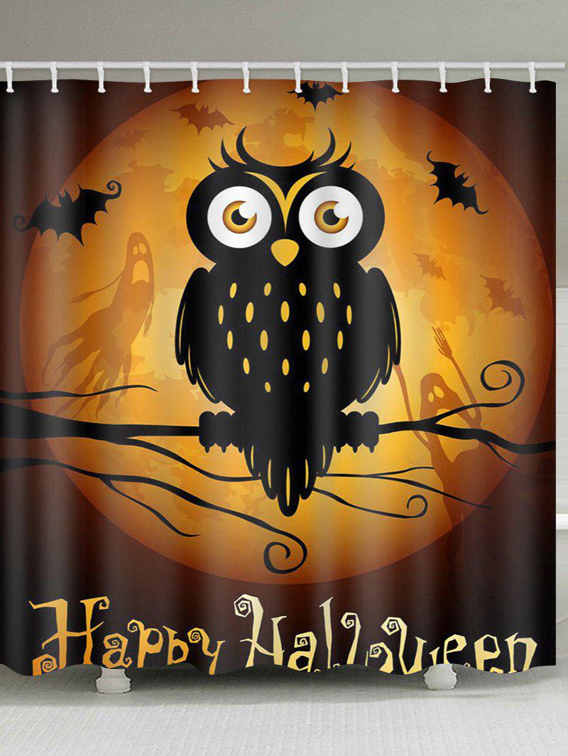 Halloween Moon Night Owl Print Waterproof Bathroom Shower Curtain