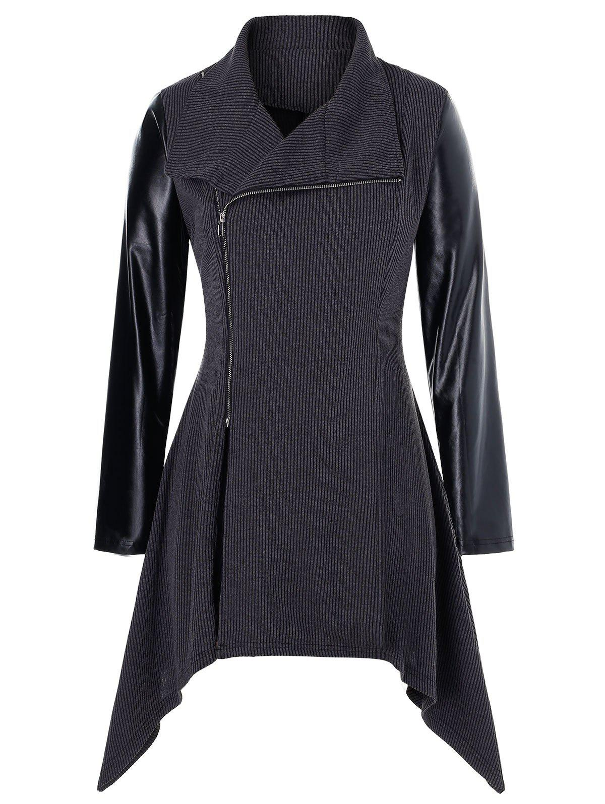 Plus Size Asymmetric PU Leather Panel Zip Knitted Coat - DARK SLATE GREY 4X