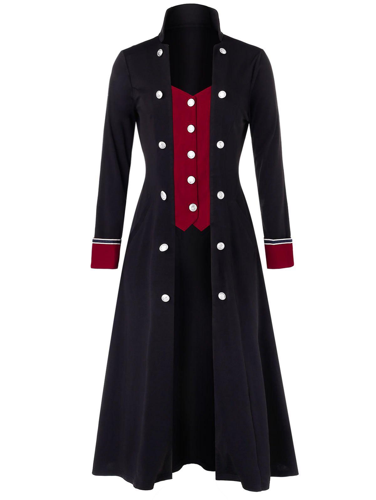 Plus Size Two Tone Buttoned Long Stand Up Collar Coat - multicolor 3X