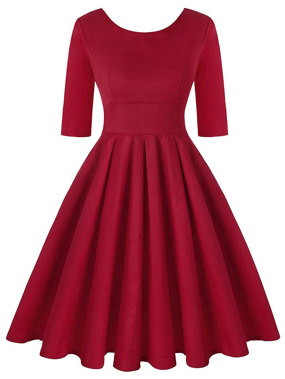 Plus Size V Shaped Back Vintage Fit and Flare Dress - RED 4X