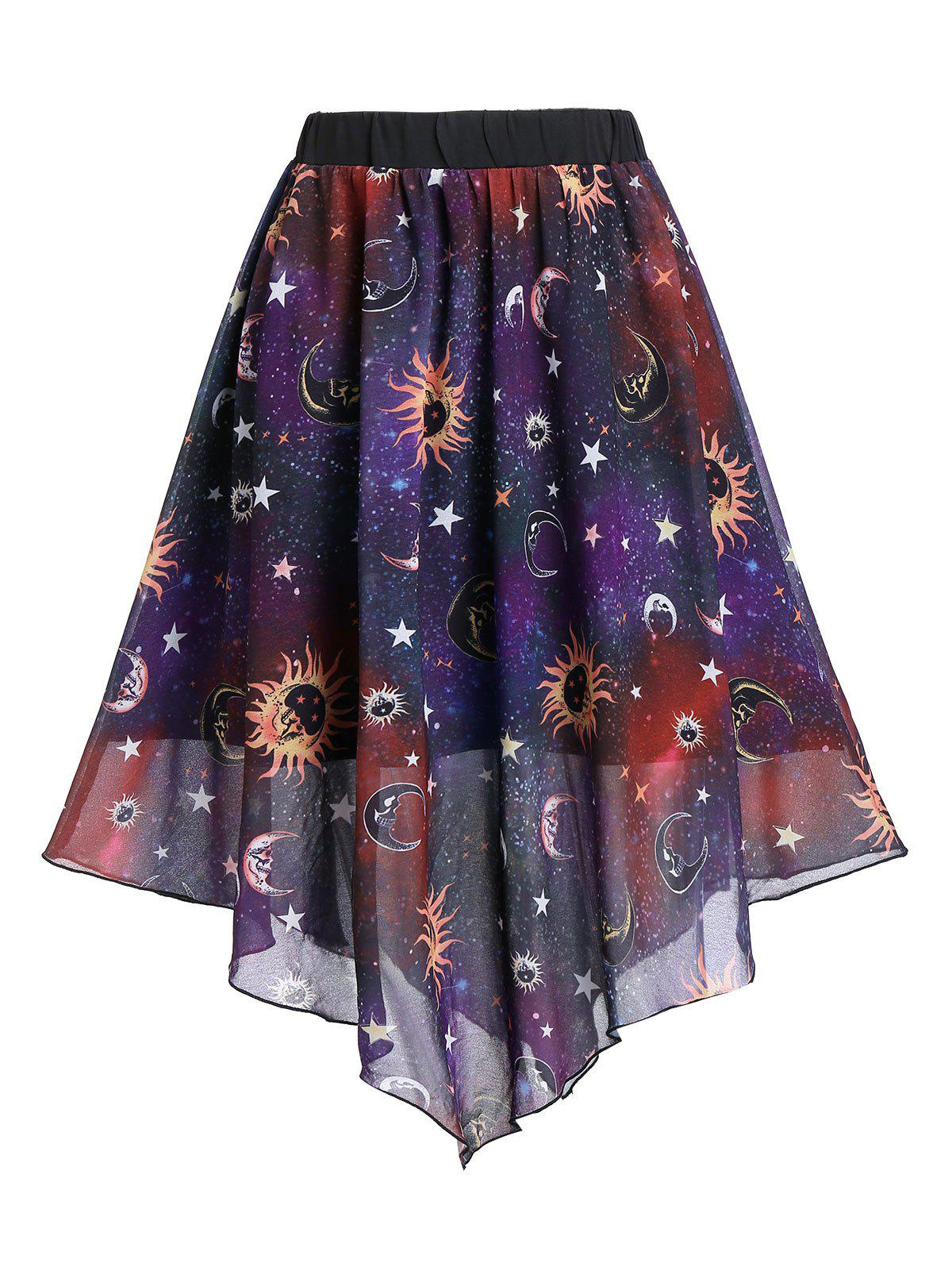 Knee Length Sun And Moon Print Layered Skirt - multicolor A L