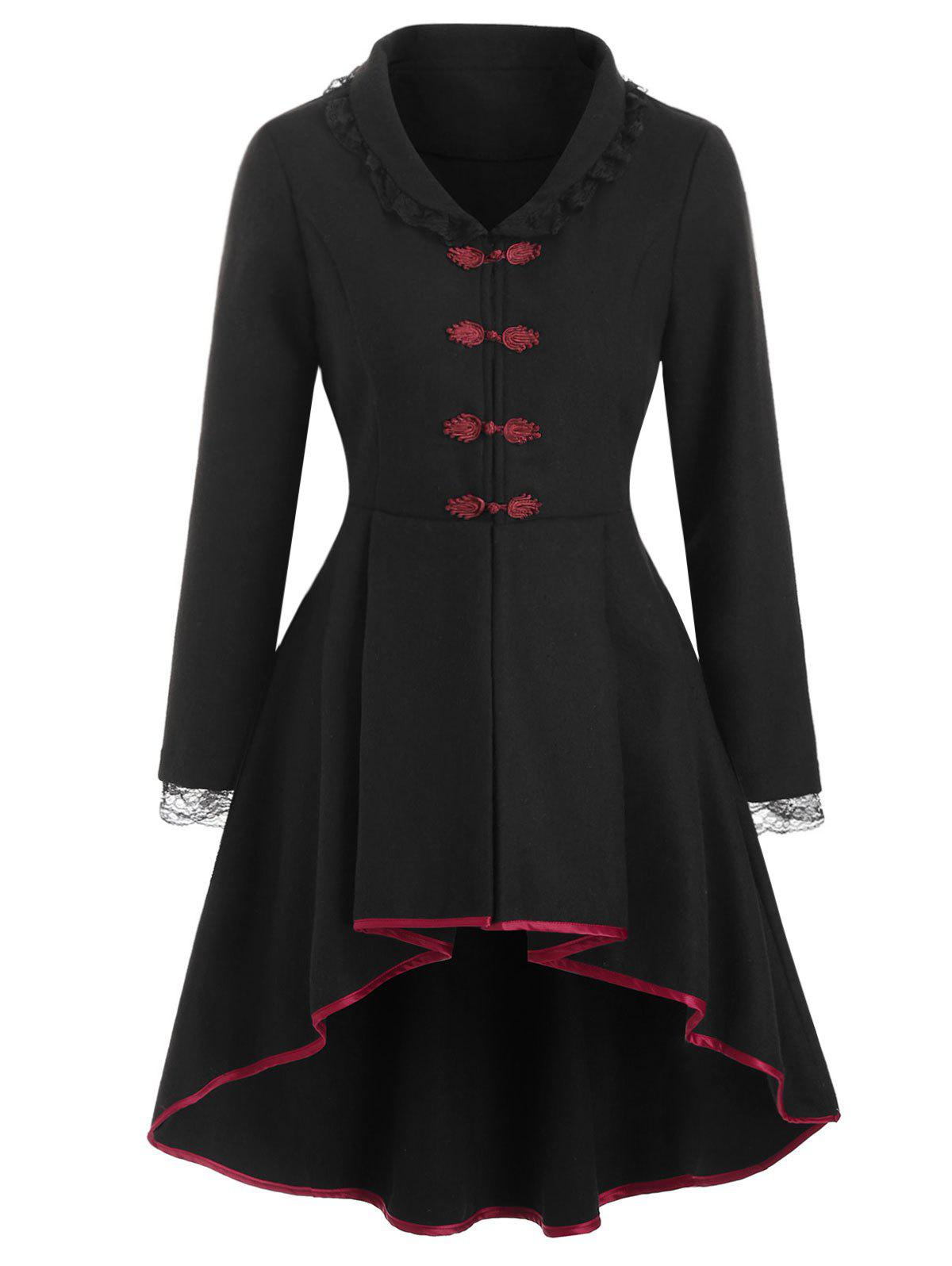 Frog Button Lace-up Wool Blend High Low Coat - BLACK L