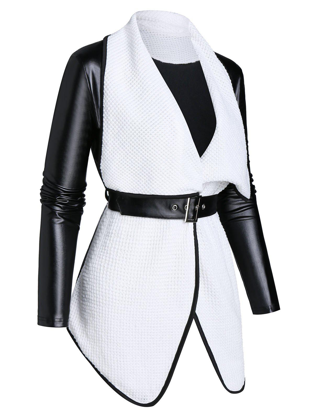 Contrast Lapel Long Sleeve Jacket with Belt - BLACK L