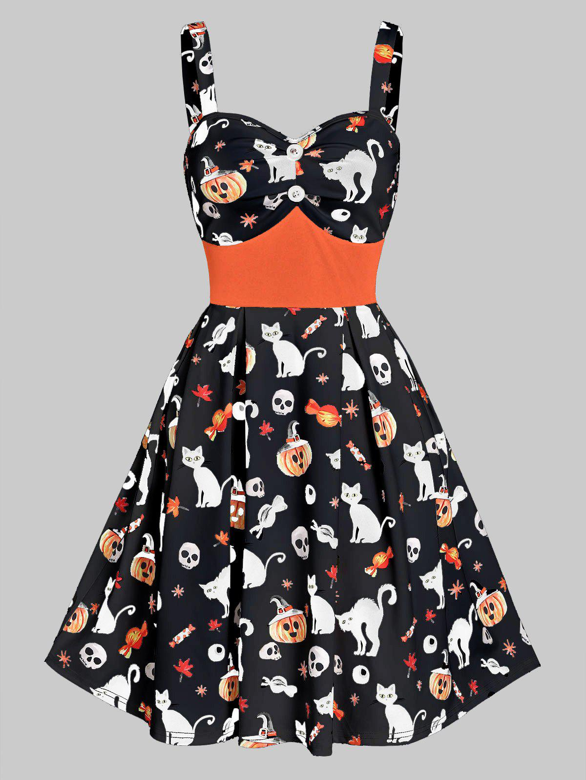 High Waist A Line Button Skull Print Halloween Dress - BLACK M