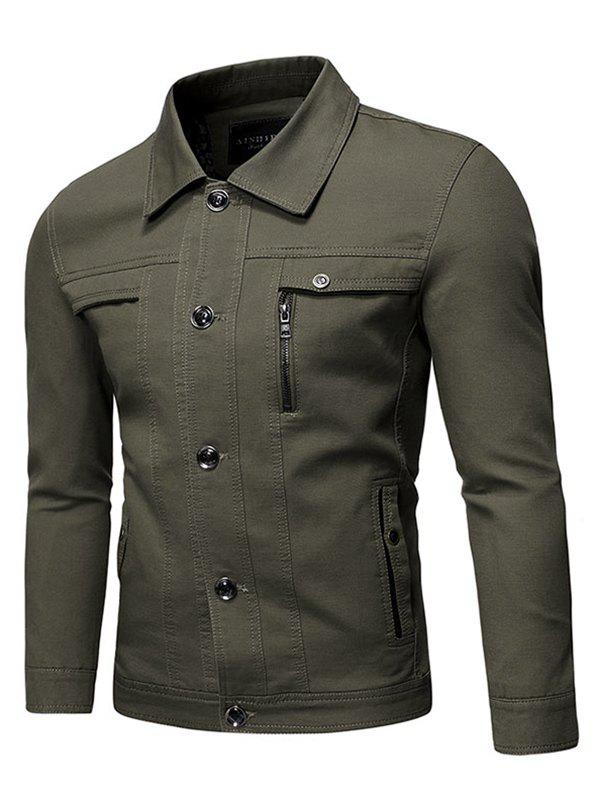 Solid Faux Chest Pocket Turn Down Collar Button Jacket - ARMY GREEN XL
